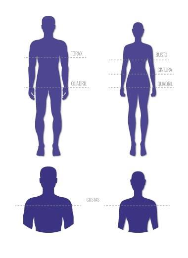 Tabela de medias para auxiliar a escolha correta do tamanho.