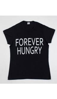 Camiseta Feminina Preta FOREVER HUNGRY