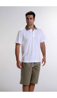 Camiseta Polo Gola Caqui